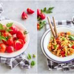 Makaron z pomidorami i pieczarkami / Pasta with tomatoes and mushrooms