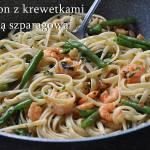 Makaron z krewetkami i fasolką szparagową