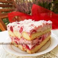 Ciasto biszkoptowe Malinowa Zuzia bez pieczenia
