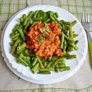 Oszukane spaghetti czyli fasolka szparagowa w sosie pomidorowym z mięsem