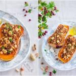 Pieczona dynia z orzechami i fetą / Baked pumpkin with nuts and feta cheese