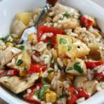 Filet z kurczaka ryżem,  ananasem i z warzywami