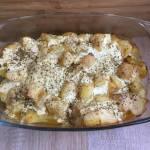 Pieczone udka z ziemniakami w sosie śmietanowo-musztardowym
