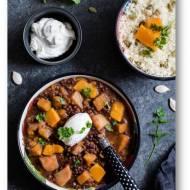 Wolno gotowana  soczewica z dynią, ziemniakami,  pomidorami