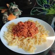 Makaron z mięsem z rosołu
