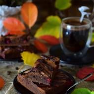 Brownie czekoladowo-kawowe z malinami