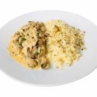 Strogonoff z polędwiczki wieprzowej z ryżem z kalafiora