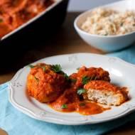 Gołąbki bez zawijania pieczone w sosie pomidorowym