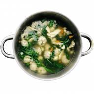 Zupa z kładzionymi kluskami i pulpetami