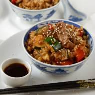 Smażona polędwica wołowa z ryżem i warzywami