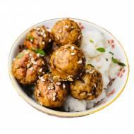 Glazurowane pulpety z kurczaka i kaszy z ryżem