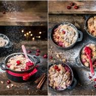Żurawinowe crumble z cynamonem i słonecznikiem / Cranberry crumble with cinnamon and sunflower seeds