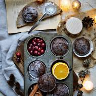 Świąteczne muffinki czekoladowe z żurawiną - wegańskie