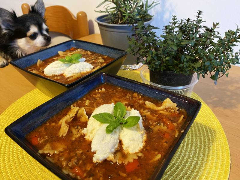 Zupa lasagne z mięsem mielonym i pomidorami