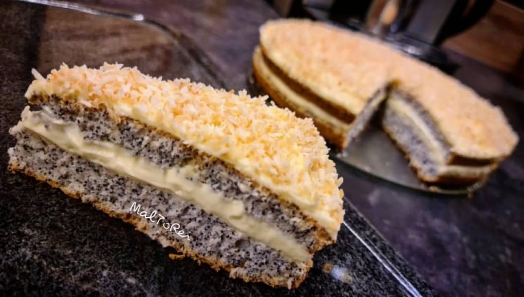Ciasto makowe z kremem budyniowym i koksem