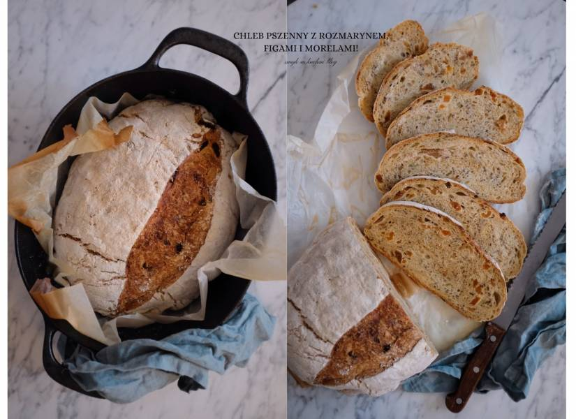 Świąteczny chleb z gara z morelami, figami i rozmarynem.