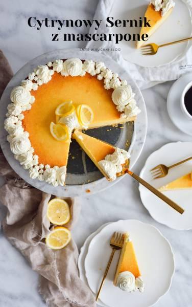 Sernik cytrynowy z mascarpone, na ciasteczkowym spodzie. Przepyszny i prosty do zrobienia!