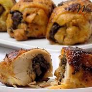 Roladki z udek kurczaka nadziewane pieczarkami