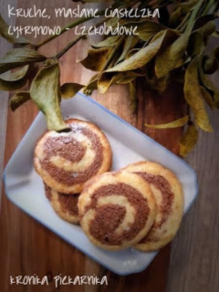 Kruche, maślane ciasteczka cytrynowo - czekoladowe