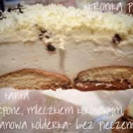 Tarta kremowa z mascarpone, mleczkiem kokosowym pod śmietanową kołderką