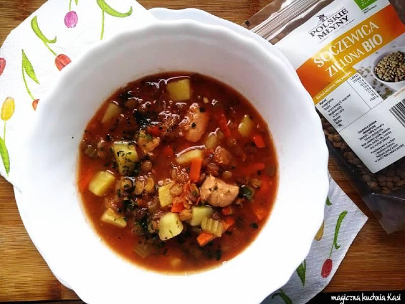 Rozgrzewająca zupa z zieloną soczewicą