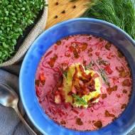 Zupa buraczkowa z puree ziemniaczanym i wędzonym boczkiem