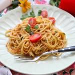 Spaghetti z tuńczykiem i czerwonym pesto