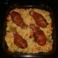 Udka z kurczaka zawijane w boczku z ryżem