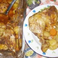 pyszne z rękawa udka kurczaka z warzywami,ziemniakami...