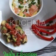 Jajka z łososiem i szpinakiem w kokilkach wg Aleex