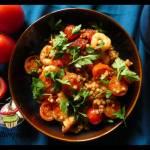 Perłowy kuskus z pomidorami i krewetkami