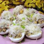 Pyszne jajka faszerowane na Wielkanoc-z cebulką, szynką i pieczarkami +FILM
