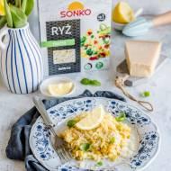 Cytrynowe risotto z kurkumą i kukurydzą