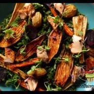 Pieczone warzywa z łososiem