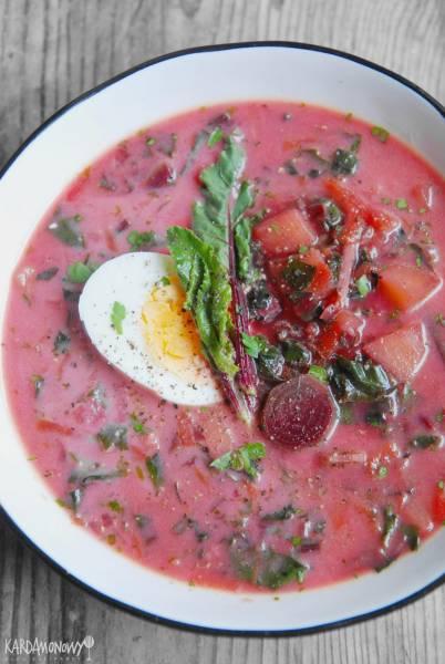 Zupa z botwinki z jajkami i ziemniakami
