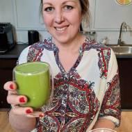 Zielony koktajl z jarmużu, gruszki i napoju migdałowego #talerzdiabetyka