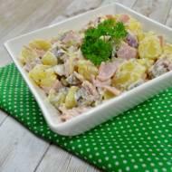 Sałatka ziemniaczana z szynką, ogórkiem kiszonym i marynowanymi grzybami + film