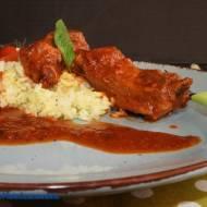 Żeberka paprykowo - miodowe w sosie pomidorowym