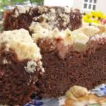szybkie, smaczne kakaowe ciasto ucierane z rabarbarem...