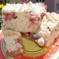 pyszne ciasto drożdżowe na suchych drożdżach z truskawkami, kruszonką...