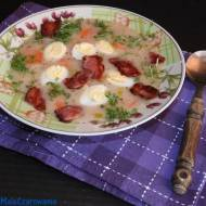 Barszcz biały chrzanowy na zakwasie z jajem i boczkiem