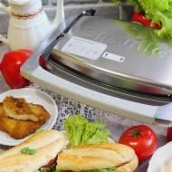 Chrupiąca bagietka z domową lutenicą, mozzarellą, schabowym i pomidorami