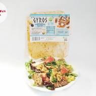 Roślinny gyros a'la kurczak w stylu greckim z grzankami, miksem sałat, pomidorkami i olejem lnianym