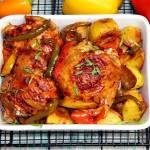 Kurczak pieczony z papryką i pastą lutenica