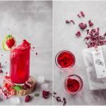 Mrożona herbata hibiskusowa z truskawkami