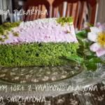 Zielony tort z malinowo - akacjową masą śmietankową