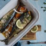 Pieczona makrela z batatami