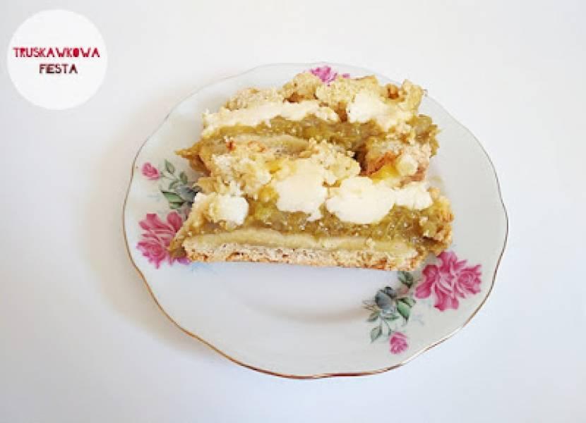 Ciasto z rabarbarem, budyniem i kruszonką
