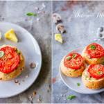 Bułeczki zapiekane z pieczarkami, serem i plastrem pomidora