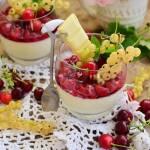 Panna cotta z serkiem mascarpone, białą czekoladą i frużeliną z owoców lata